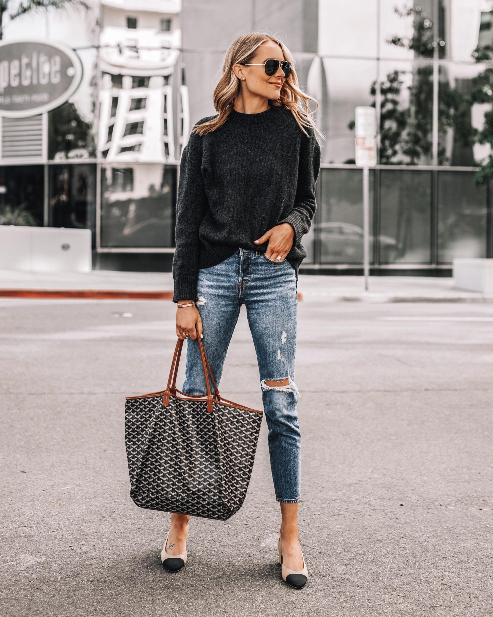 Fashion Jackson Wearing Anine Bing Grey Sweater Levis Ripped Jeans Chanel Slingbacks Goyard Tote