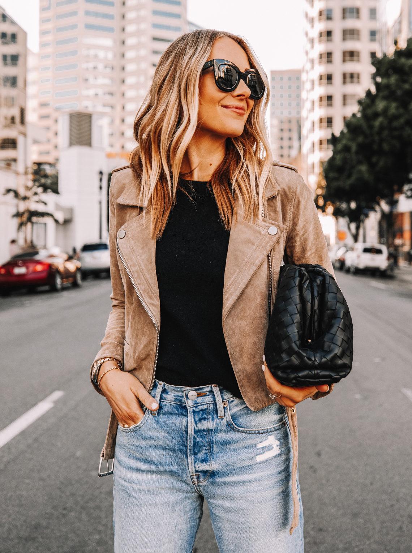 Fashion Jackson Wearing Blanknyc Suede Moto Jacket Sand Stoner Black Bottega Veneta Clutch
