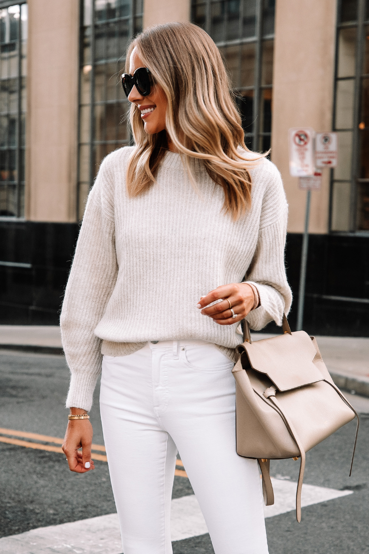 Fashion Jackson Wearing Everlane Alpaca Sweater Beige White Skinny Jeans Celine Mini Belt Bag 1