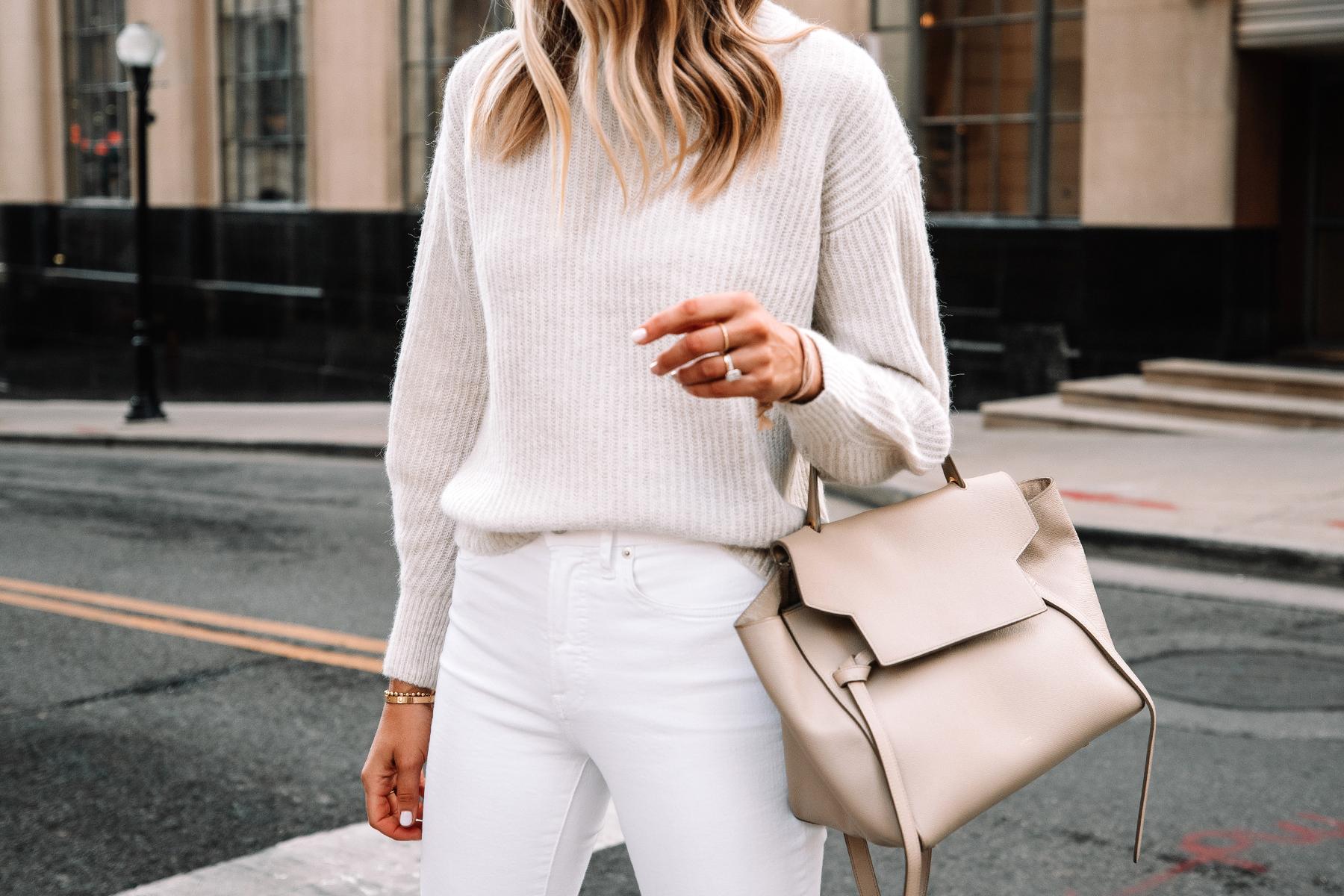 Fashion Jackson Wearing Everlane Alpaca Sweater Beige White Skinny Jeans Celine Mini Belt Bag