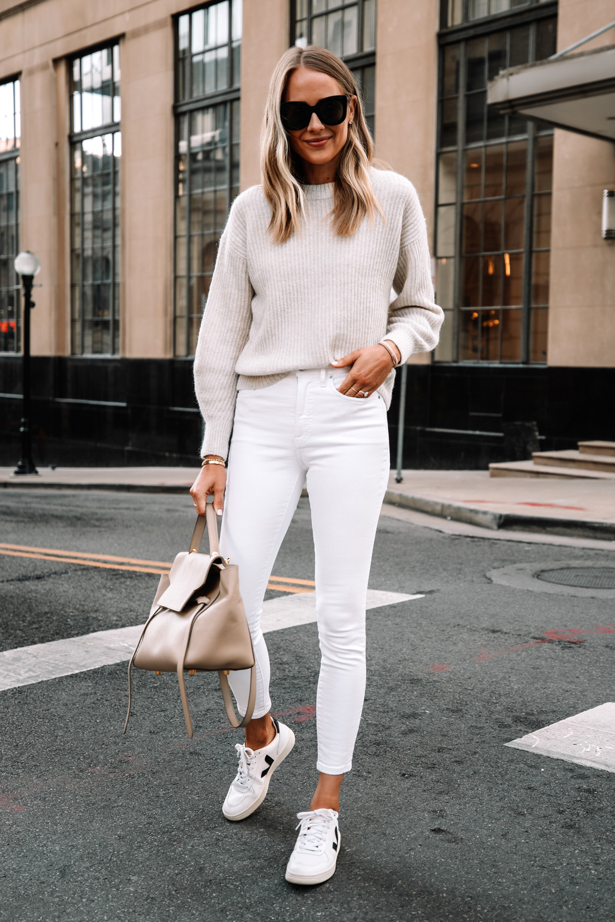 Fashion Jackson Wearing Everlane Alpaca Sweater Beige White Skinny Jeans Veja V10 Sneakers Celine Mini Belt Bag Street Style