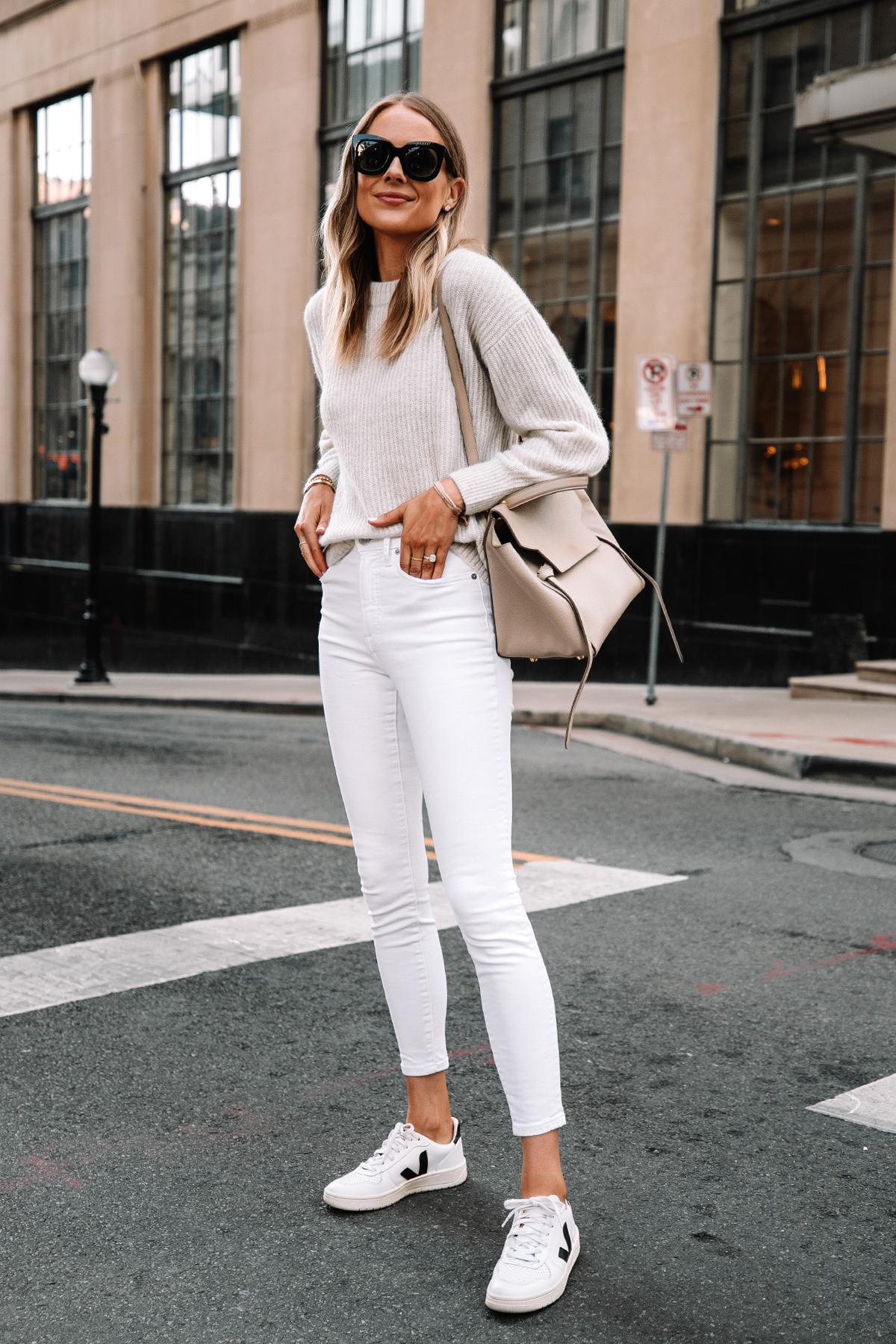 Fashion Jackson Wearing Everlane Alpaca Sweater Beige White Skinny Jeans Veja V10 Sneakers Celine Mini Belt Bag