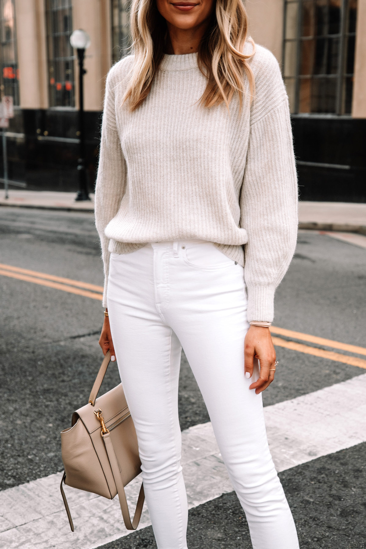 Fashion Jackson Wearing Everlane Alpaca Sweater Beige White Skinny Jeans