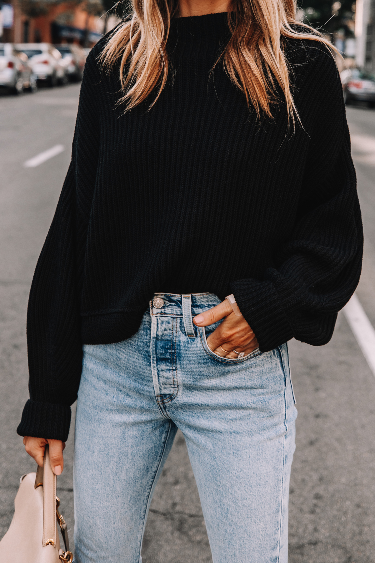 Fashion Jackson Wearing Free People Black Emmy Mock Neck Sweater