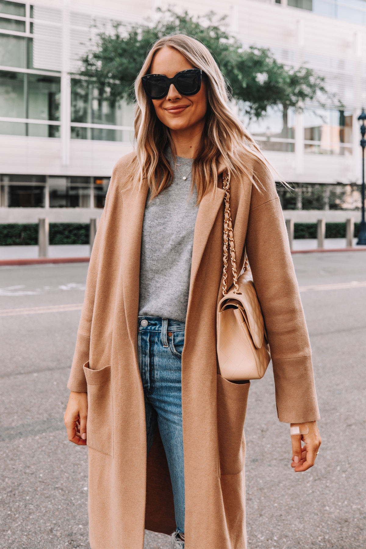 Fashion Jackson Wearing Jcrew Ella Long Sweater Blazer Grey Sweater Celine Sunglasses