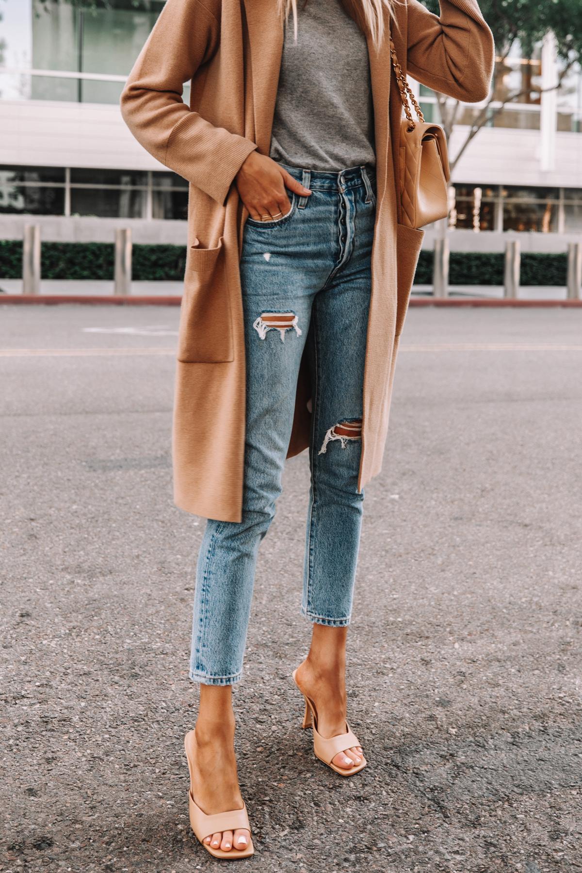 Fashion Jackson Wearing Jcrew Ella Long Sweater Blazer Grey Sweater Levis 501 Ripped Skinny Jeans Nude Heeled Sandals 1
