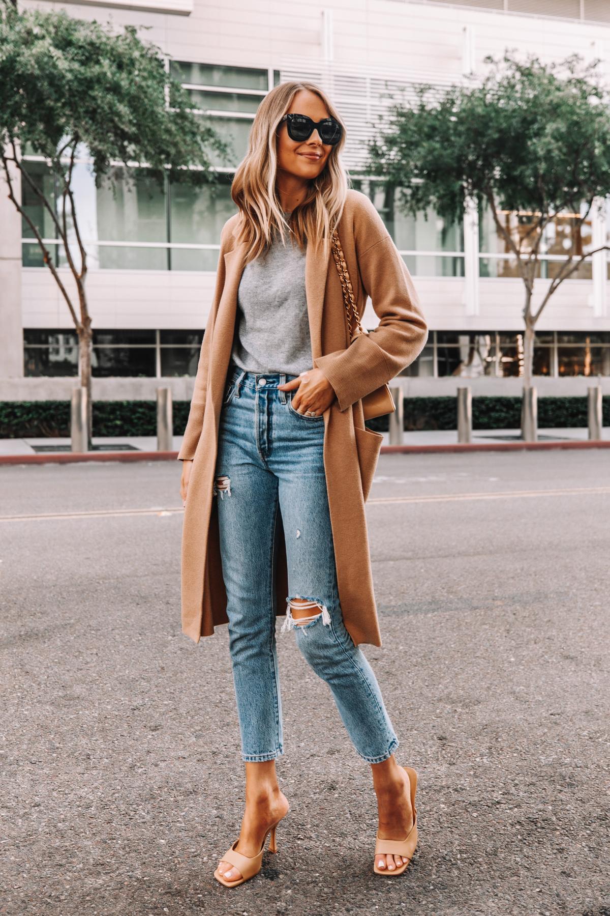 Fashion Jackson Wearing Jcrew Ella Long Sweater Blazer Grey Sweater Levis 501 Ripped Skinny Jeans Nude Heeled Sandals 2