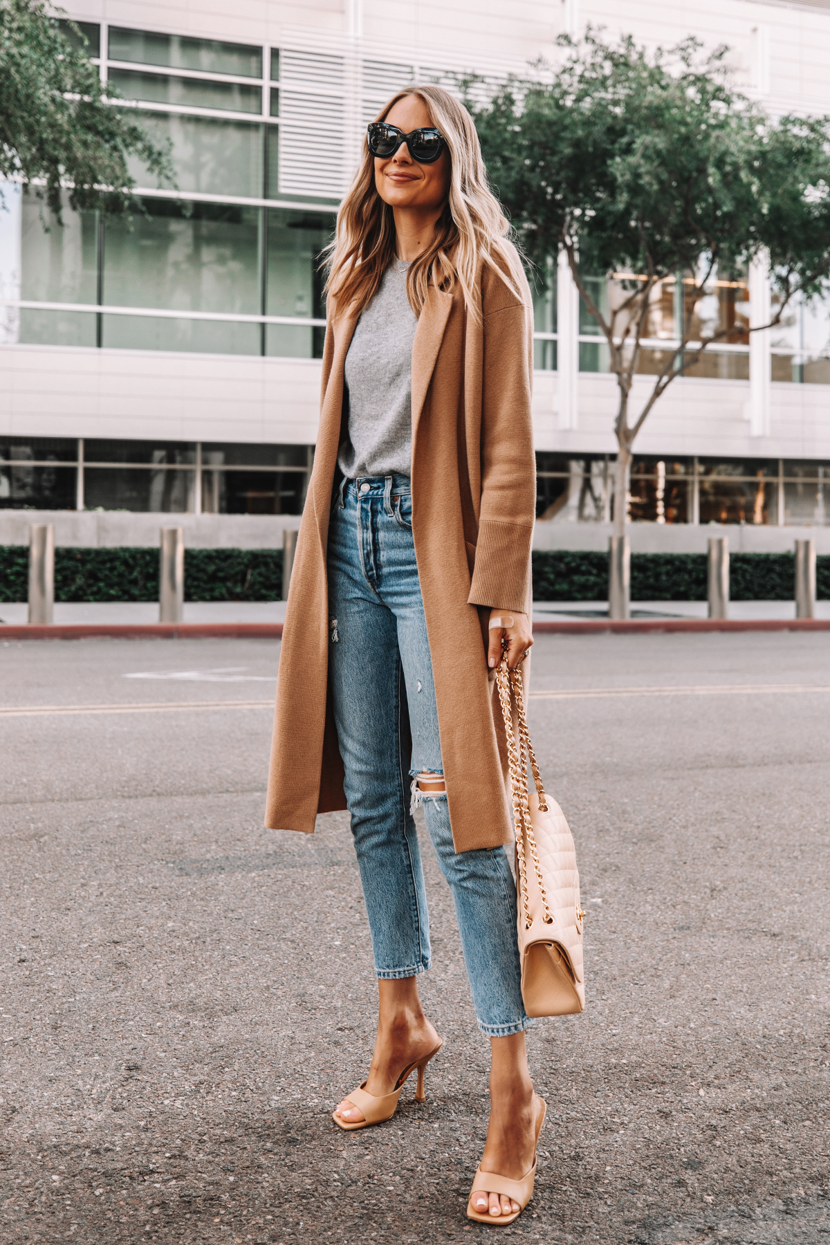 Fashion Jackson Wearing Jcrew Ella Long Sweater Blazer Grey Sweater Levis 501 Ripped Skinny Jeans Nude Heeled Sandals Chanel Beige Handbag