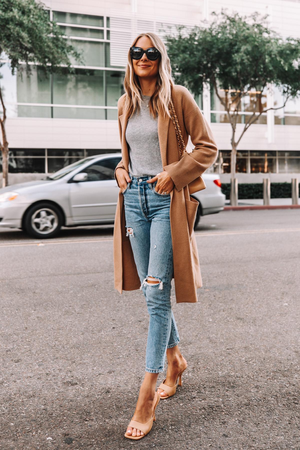 Fashion Jackson Wearing Jcrew Ella Long Sweater Blazer Grey Sweater Levis 501 Ripped Skinny Jeans Nude Heeled Sandals