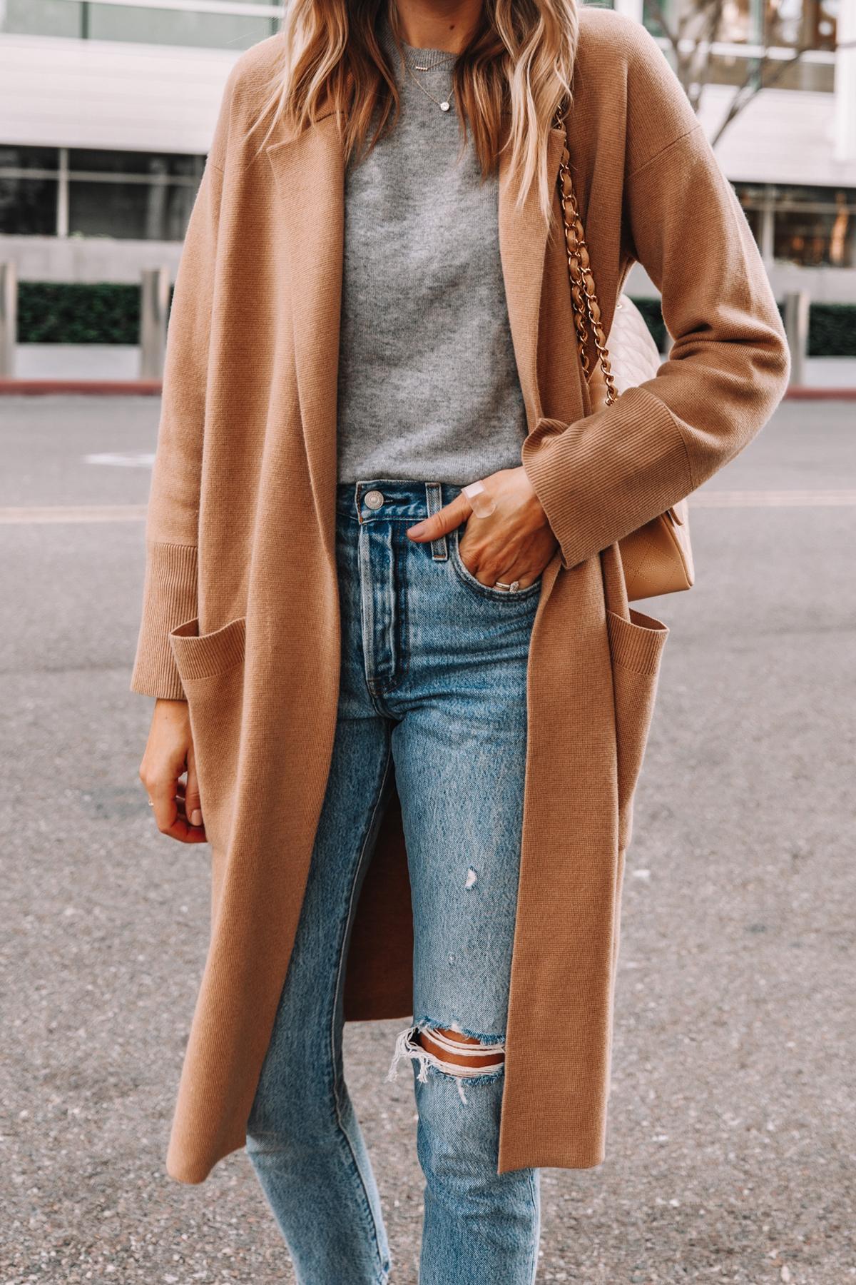 Fashion Jackson Wearing Jcrew Ella Long Sweater Blazer Grey Sweater Levis Ripped 501 Jeans 1