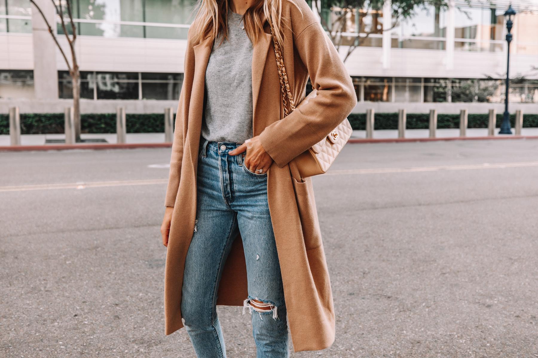 Fashion Jackson Wearing Jcrew Ella Long Sweater Blazer Grey Sweater Levis Ripped 501 Jeans