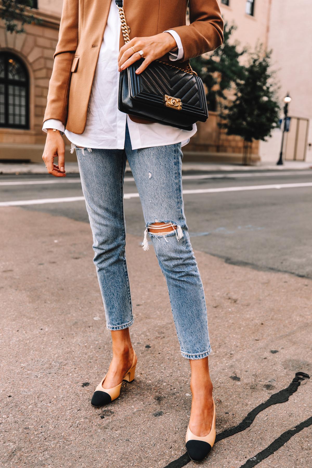 Fashion Jackson Wearing Jcrew Regent Blazer Camel White Shirt Levis 501 Ripped Jeans Chanel Slingbacks Chanel Black Boy Bag 1