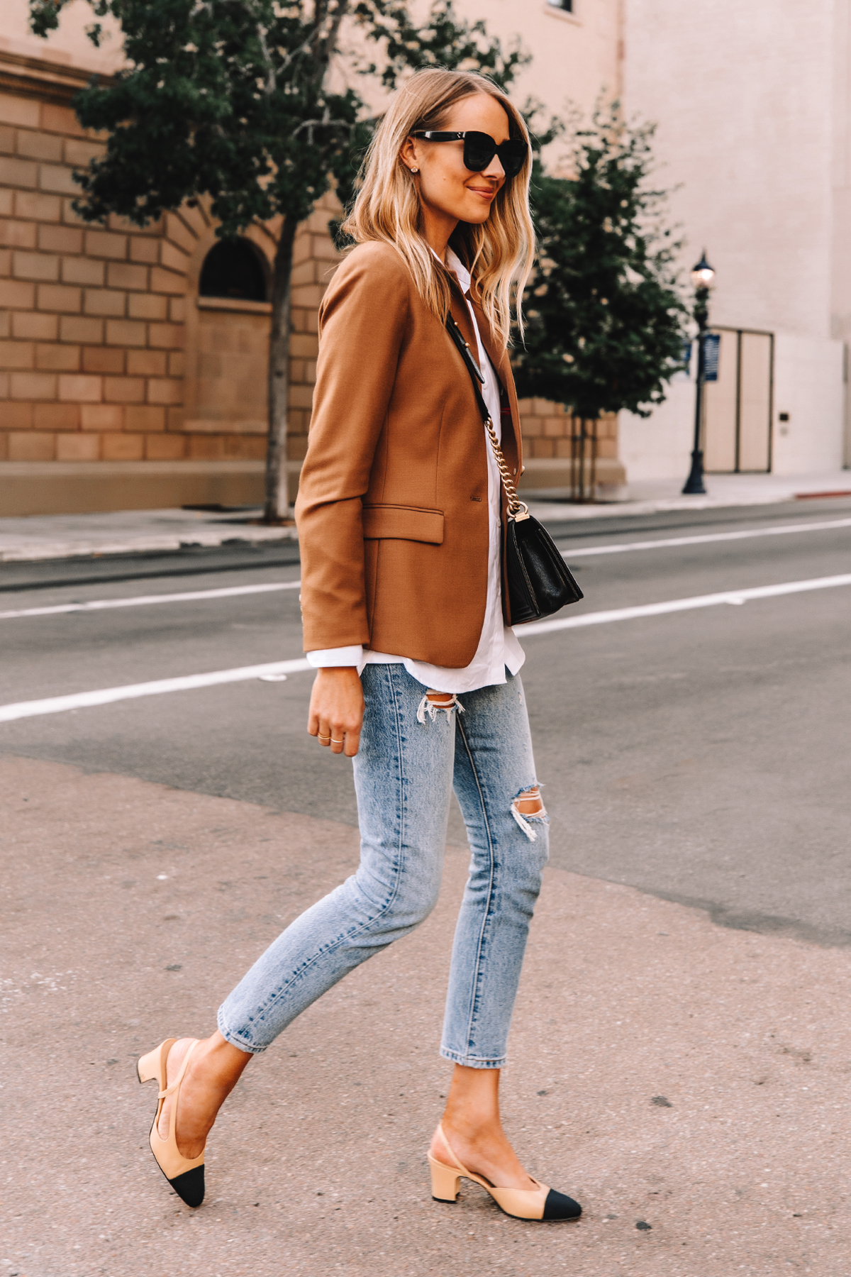 Fashion Jackson Wearing Jcrew Regent Blazer Camel White Shirt Levis 501 Ripped Jeans Chanel Slingbacks