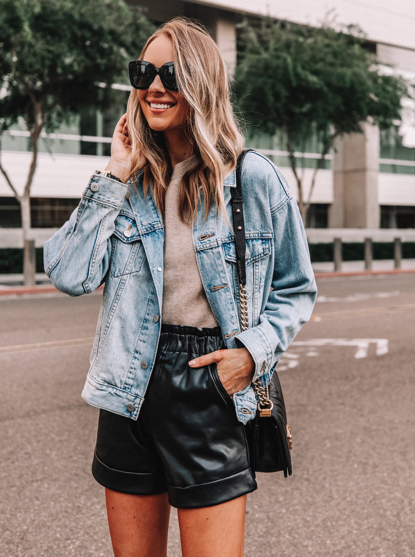 Fashion Jackson Wearing Levis Oversized Denim Jacket Faux Leather Shorts Fall Outfit