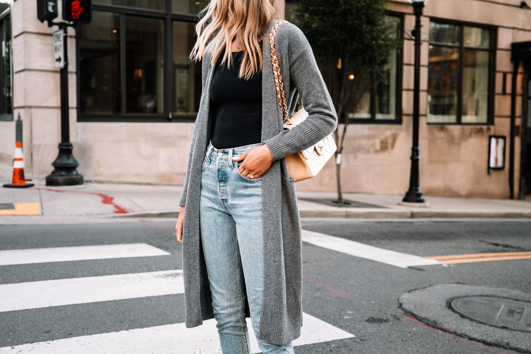 Fashion Jackson Wearing Long Grey Cardigan Black Bodysuit Levis 501 Jeans Chanel Jumbo Beige Handbag