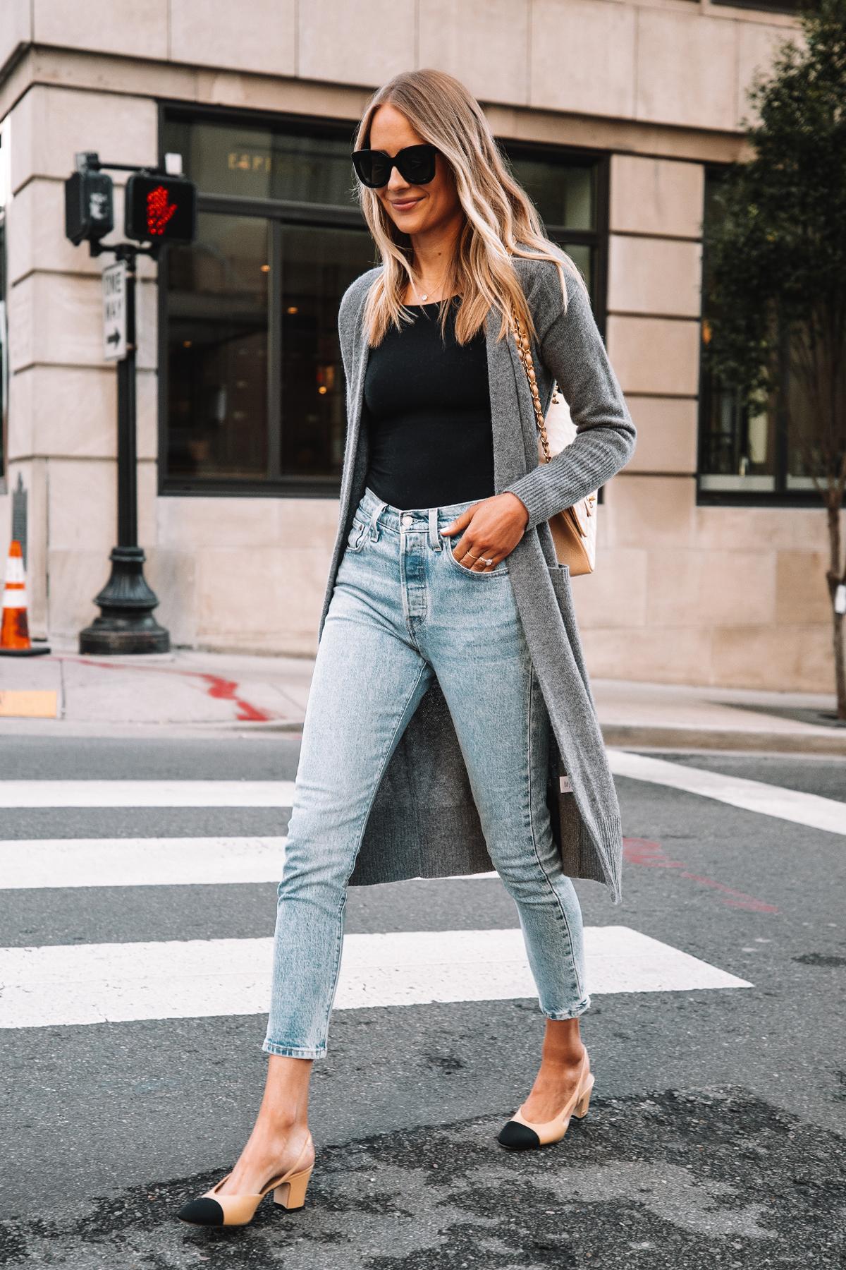 Fashion Jackson Wearing Long Grey Cardigan Black Bodysuit Levis 501 Jeans Chanel Slingbacks 1