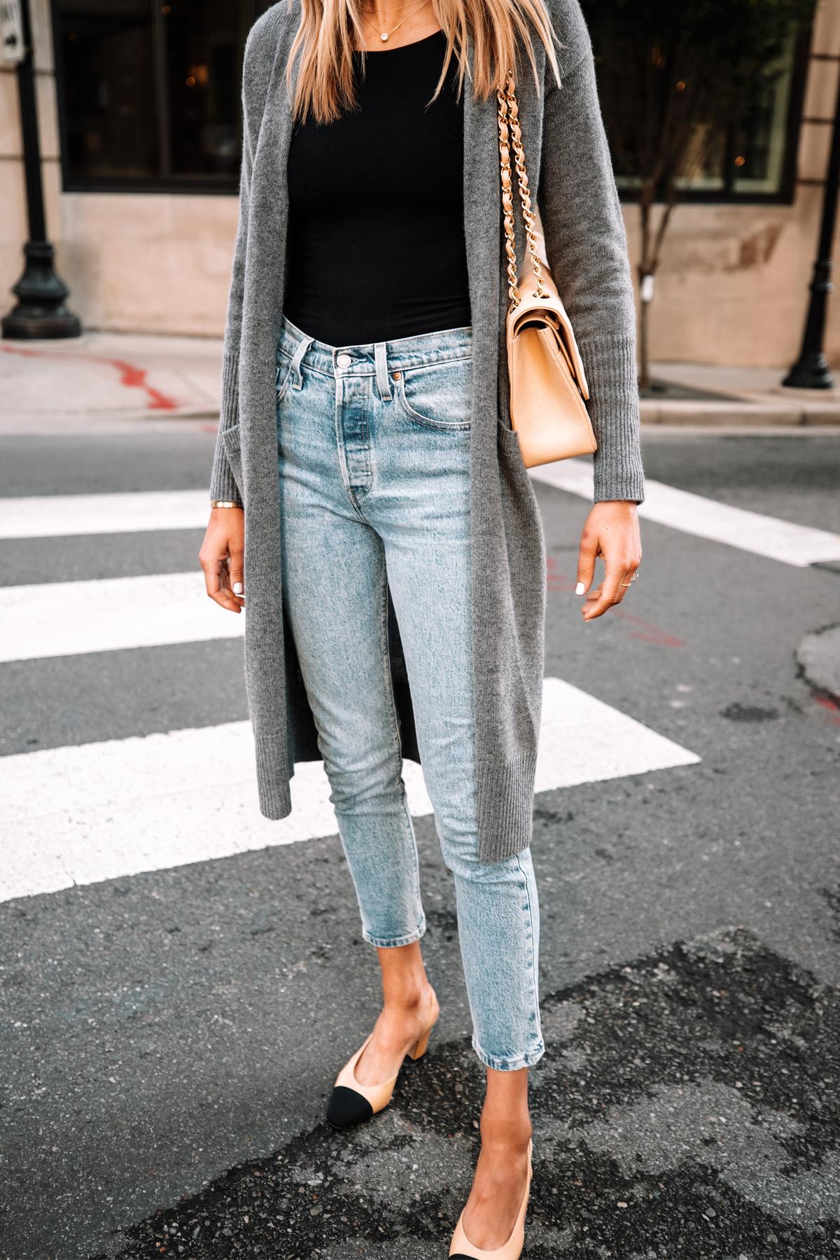 Fashion Jackson Wearing Long Grey Cardigan Black Bodysuit Levis 501 Jeans Chanel Slingbacks 2