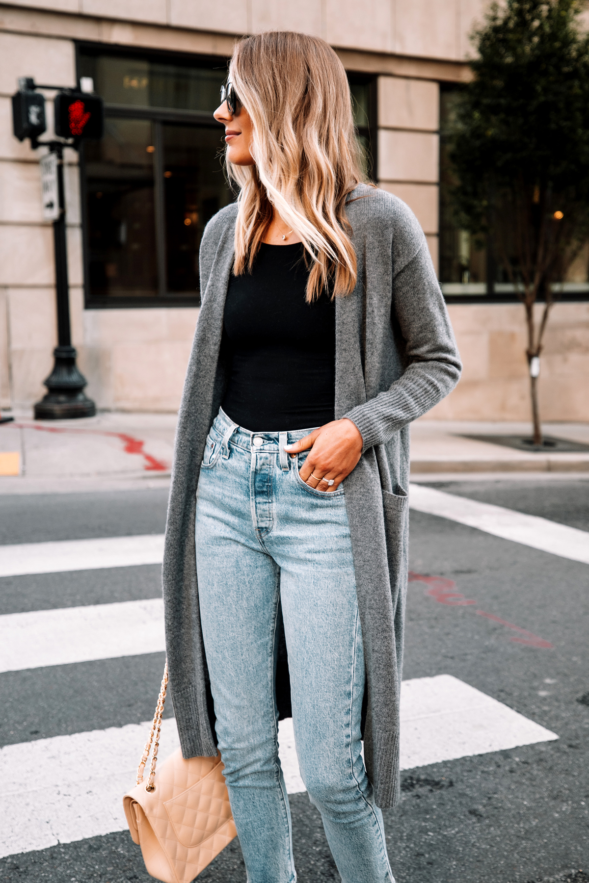 Fashion Jackson Wearing Long Grey Cardigan Black Bodysuit Levis 501 Jeans