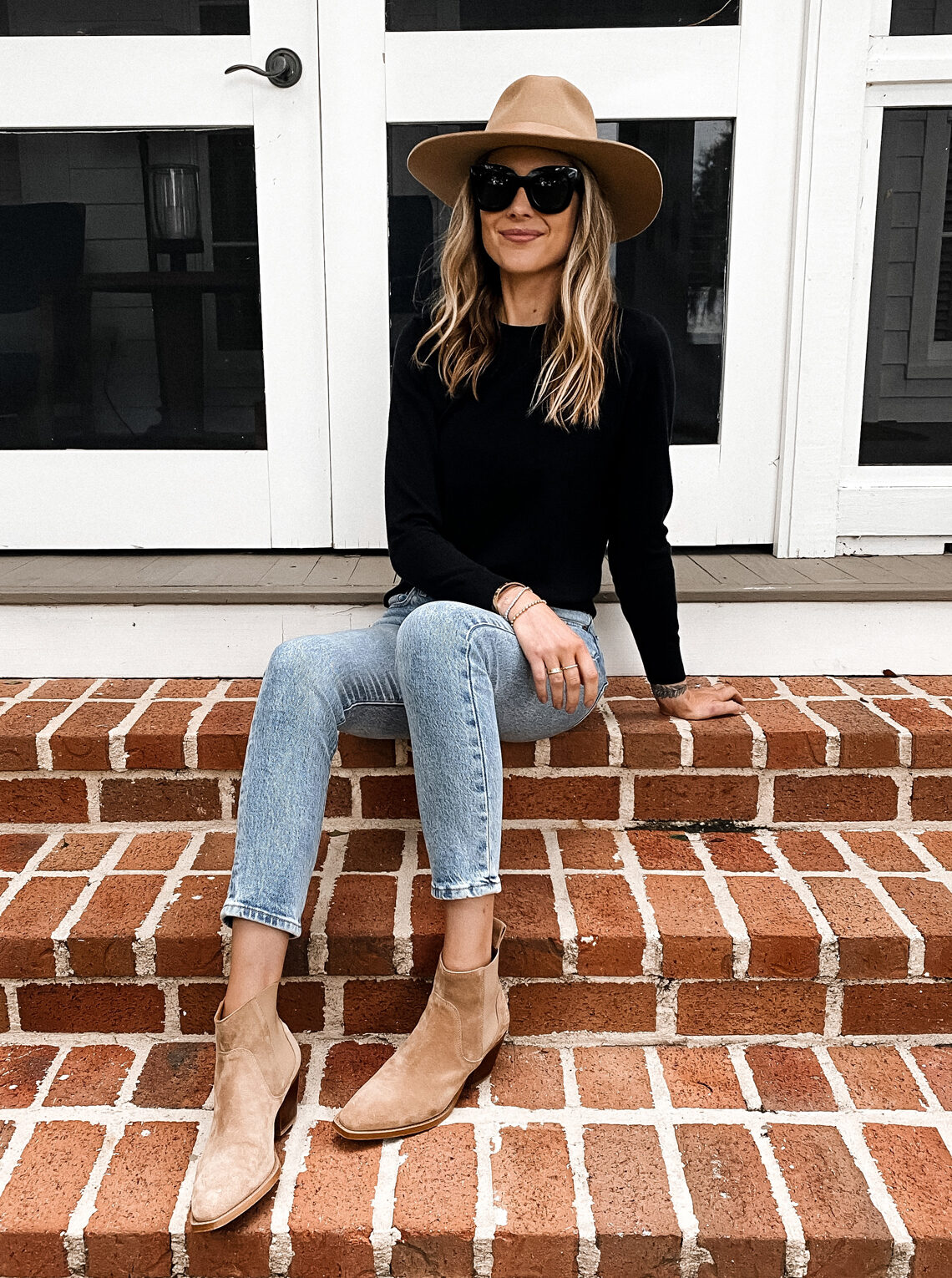 Fashion Jackson Wearing Tan Wide Brim Wool Hat Black Sweater Levis Jeans Tan Suede Booties Fall Outfit