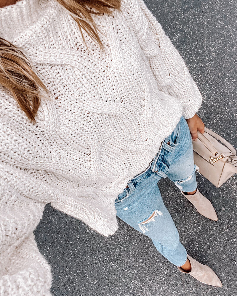 Fashion Jackson Free People Chunky Knit Sweater Levis Ripped Jeans Tan Suede Booties