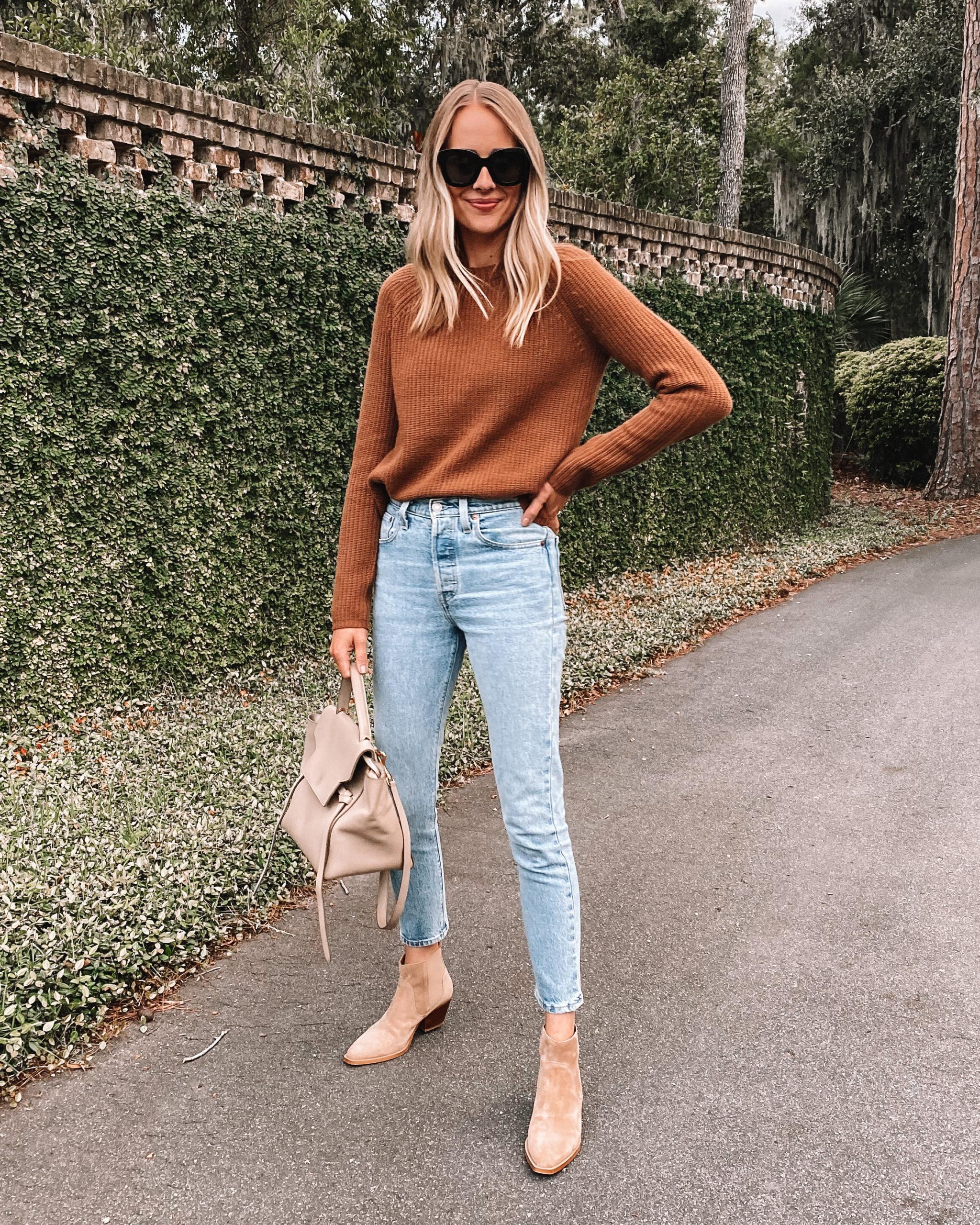 Fashion Jackson Wearing Jenni Kayne Sweater Levis 501 Jeans Everlane Tan Suede Booties
