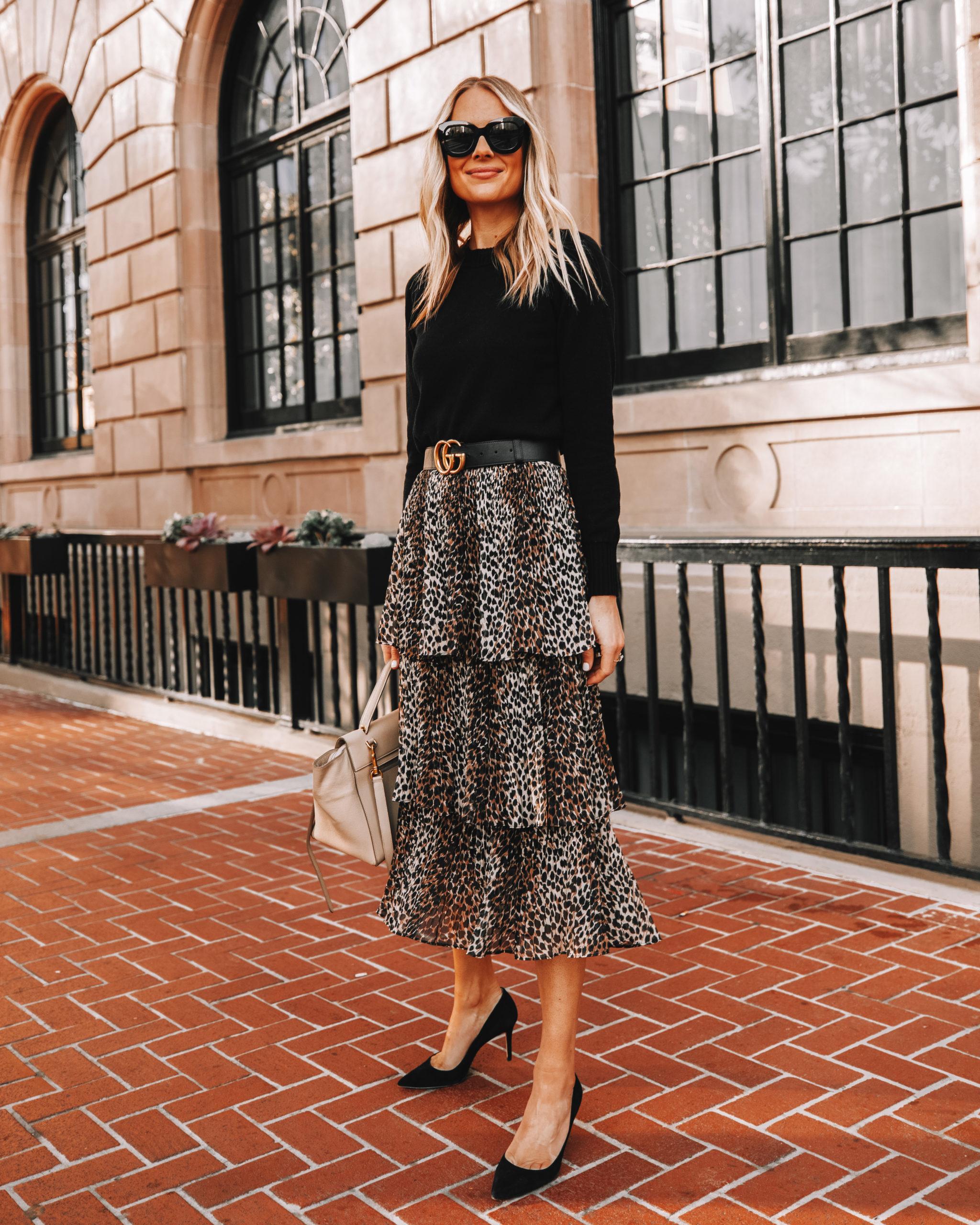 Fashion Jackson Wearing Leopard Midi Skirt Black Sweater Black Gucci Belt Fall Outfit