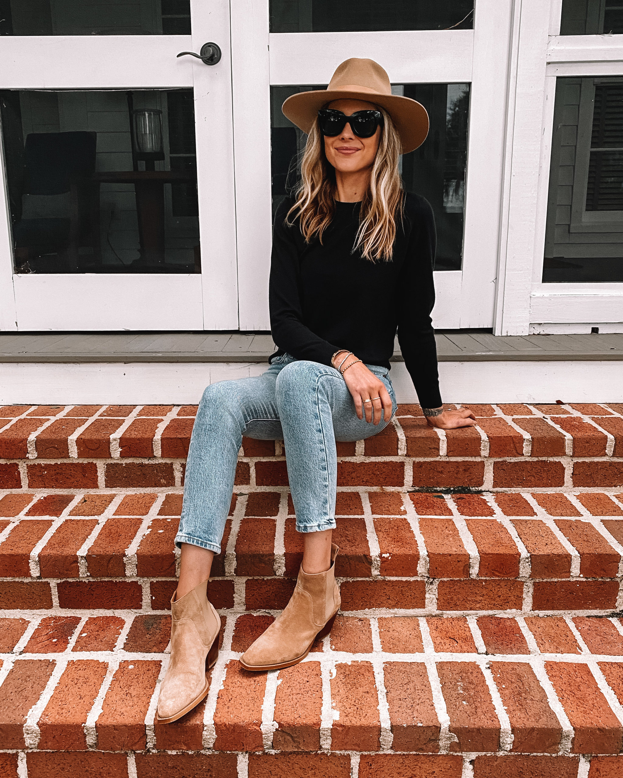 Fashion Jackson Wearing Rag and Bone Tan Hat Black Sweater Levis Jeans Tan Suede Booties