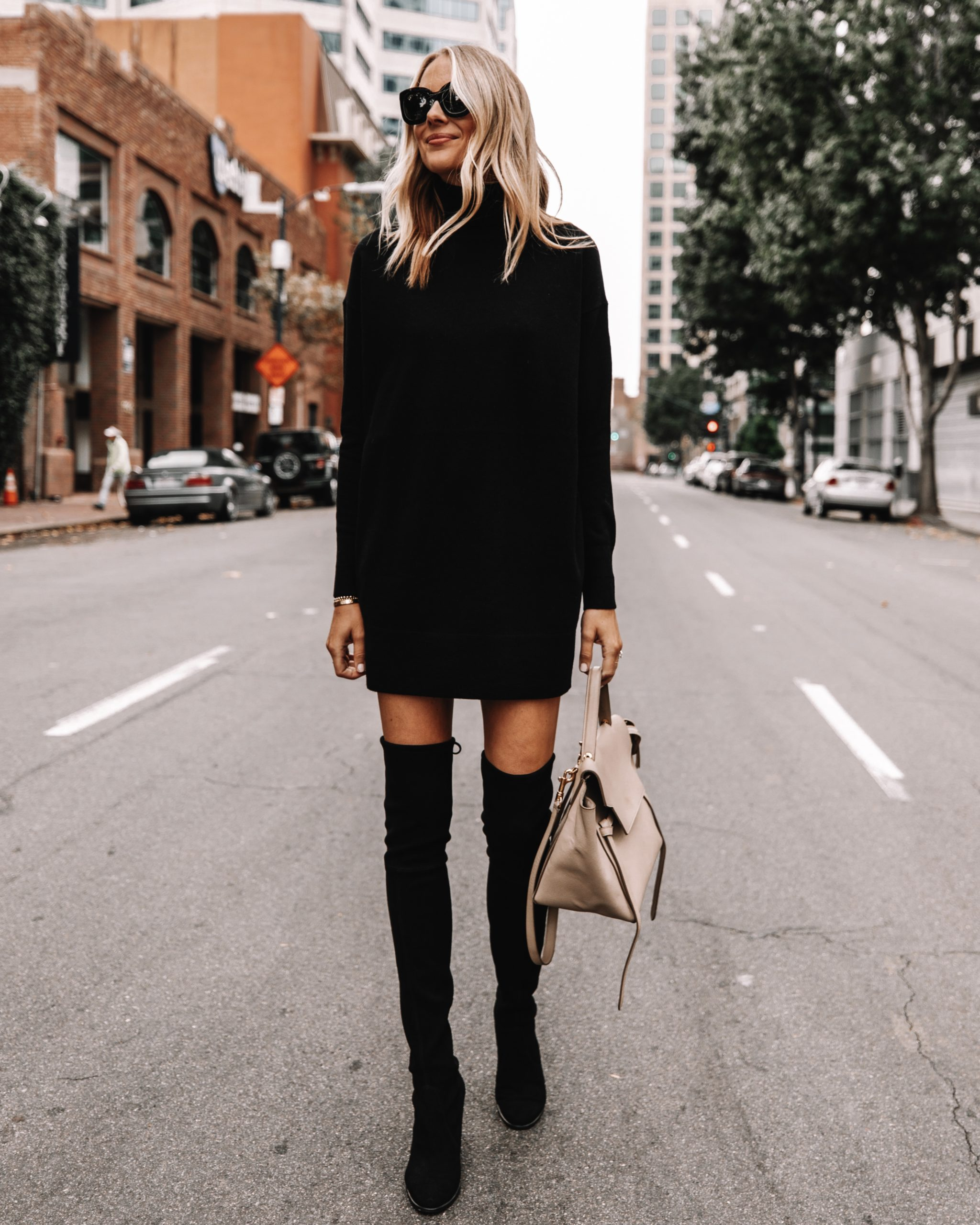 Fashion Jackson Wearing Everlane Black Sweater Dress Black Over the Knee Boots Fall Outfit