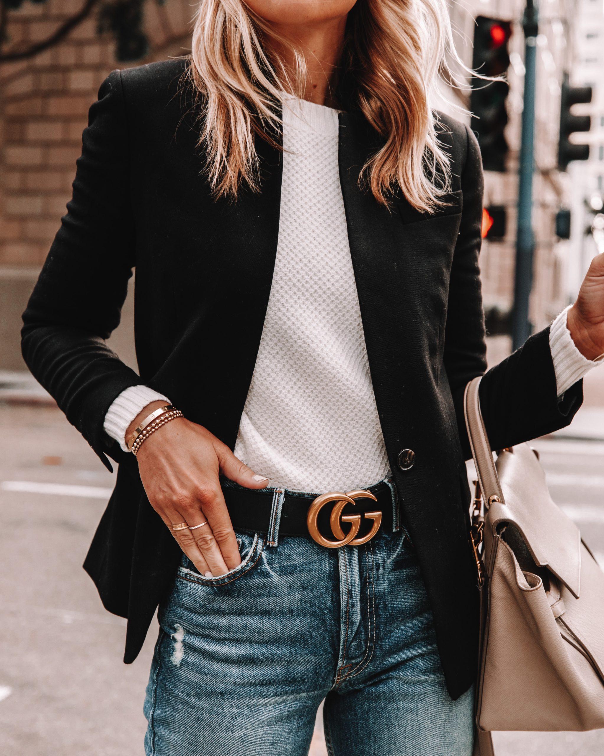 Fashion Jackson Wearing Black Jcrew Blazer White Sweater Gucci Belt