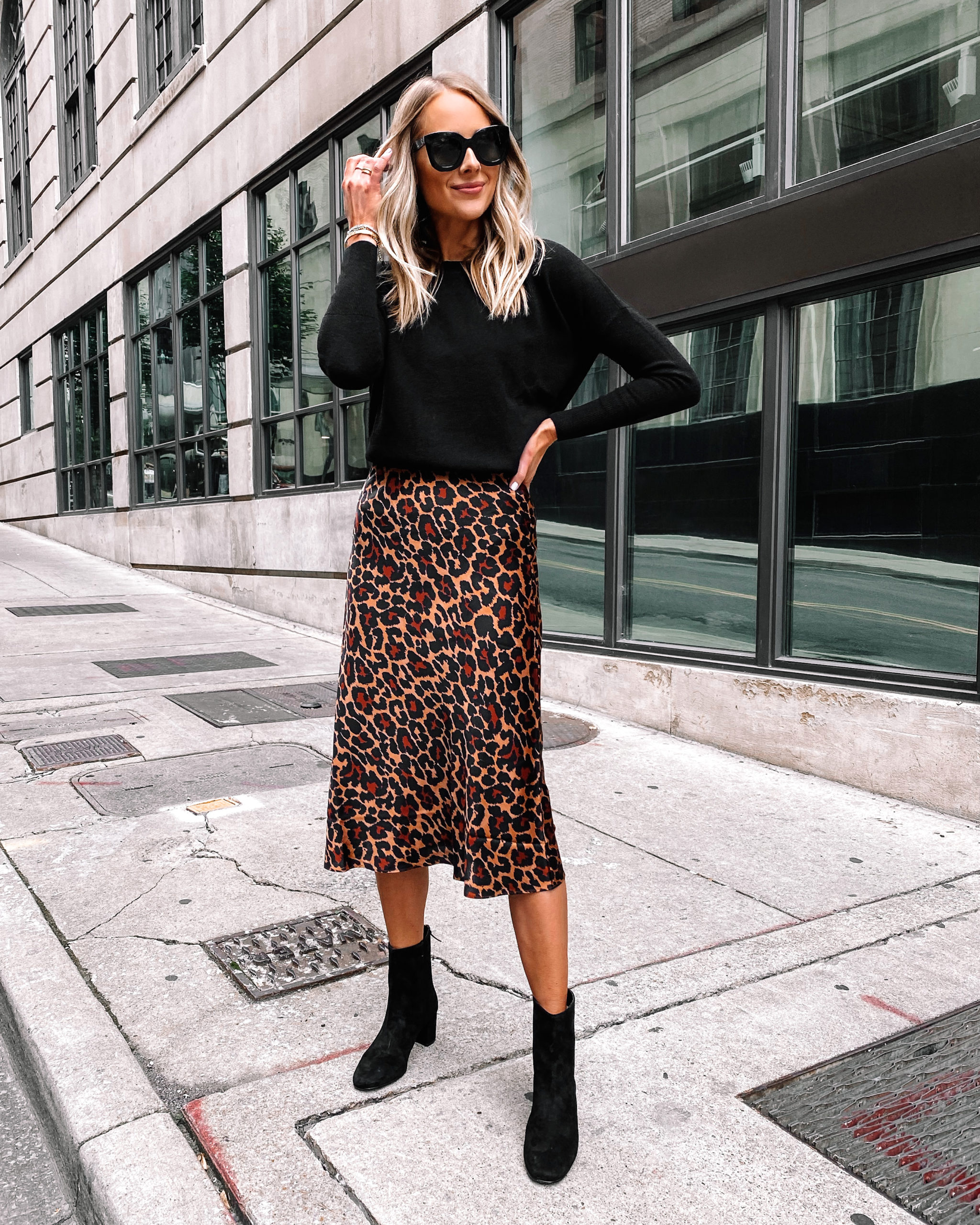 Fashion Jackson Wearing Jcrew Black Sweater Leopard Midi Skirt Black Booties