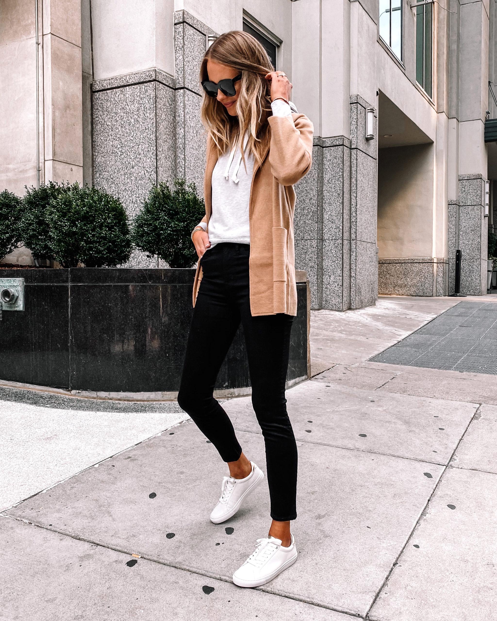 Fashion Jackson Wearing Jcrew Camel Sweater Blazer Grey Hoodie Sweatshirt Black Skinny Jeans White Sneakers