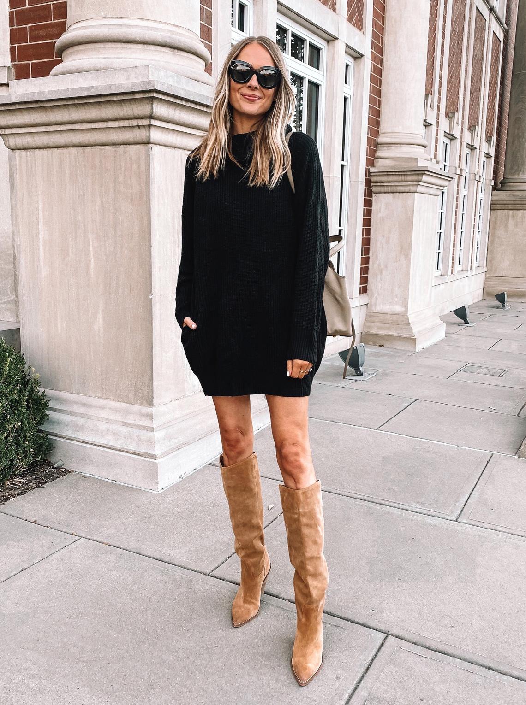 Fashion Jackson Wearing Amazon Fashion Black Sweater Dress Tan Knee High Boots