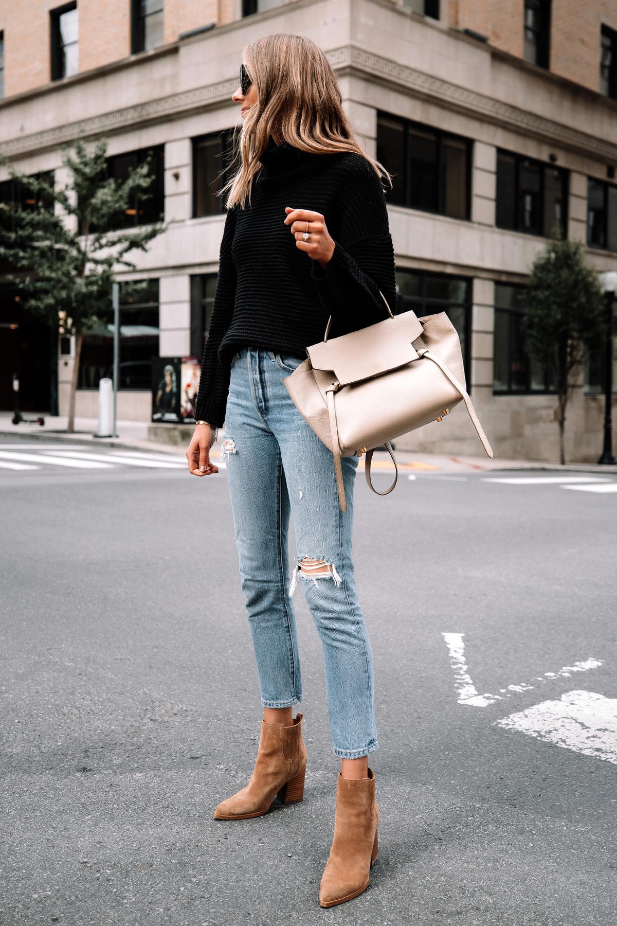 Fashion Jackson Wearing Amazon Fashion Black Turtleneck Sweater Levis Ripped Jeans Tan Suede Booties 2