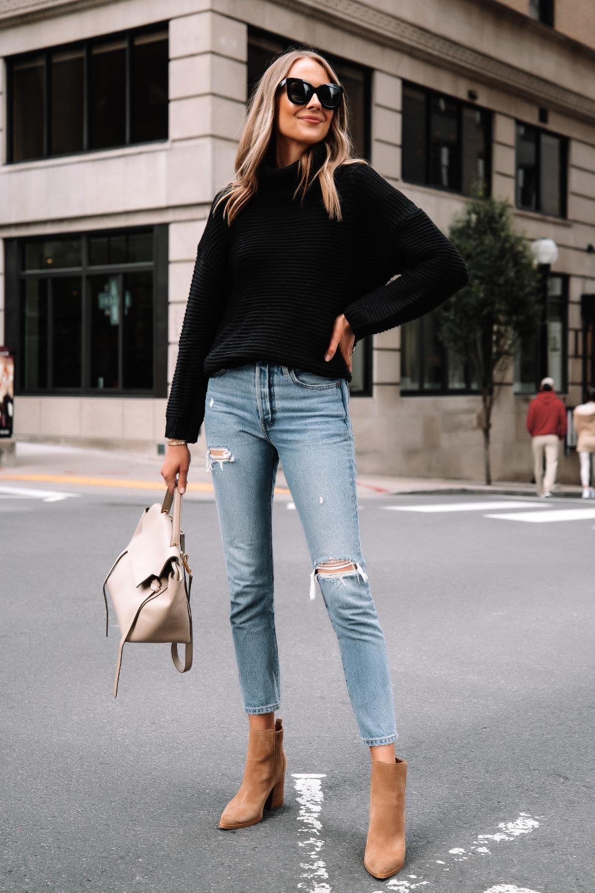Fashion Jackson Wearing Amazon Fashion Black Turtleneck Sweater Levis Ripped Jeans Tan Suede Booties 3