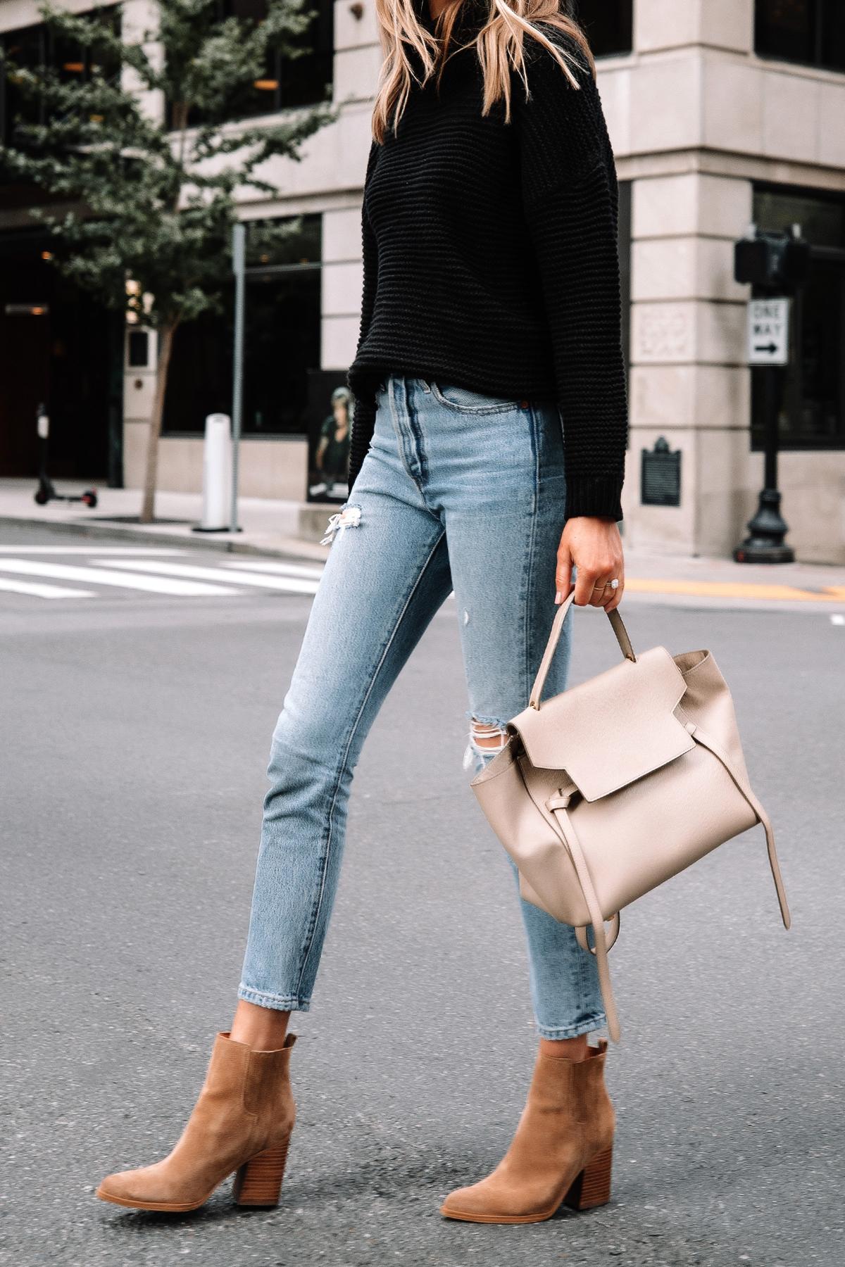 Fashion Jackson Wearing Amazon Fashion Black Turtleneck Sweater Levis Ripped Jeans Tan Suede Booties 4