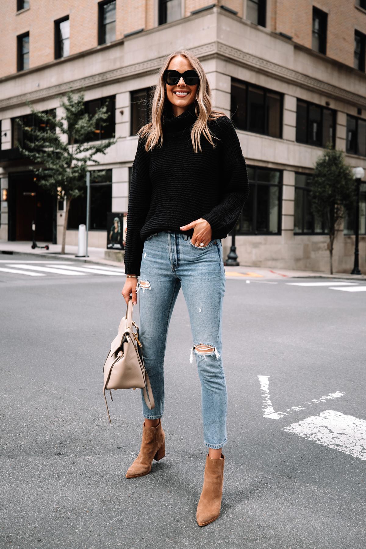 Fashion Jackson Wearing Amazon Fashion Black Turtleneck Sweater Levis Ripped Jeans Tan Suede Booties