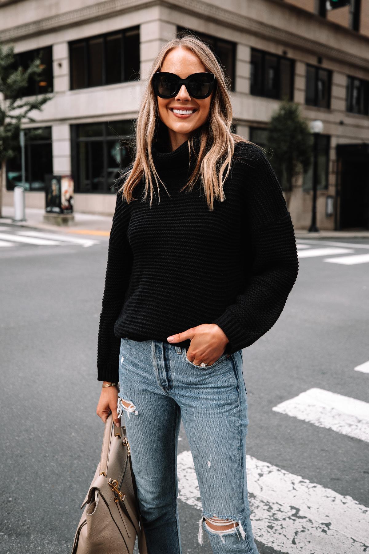 Fashion Jackson Wearing Amazon Fashion Black Turtleneck Sweater Levis Ripped Jeans