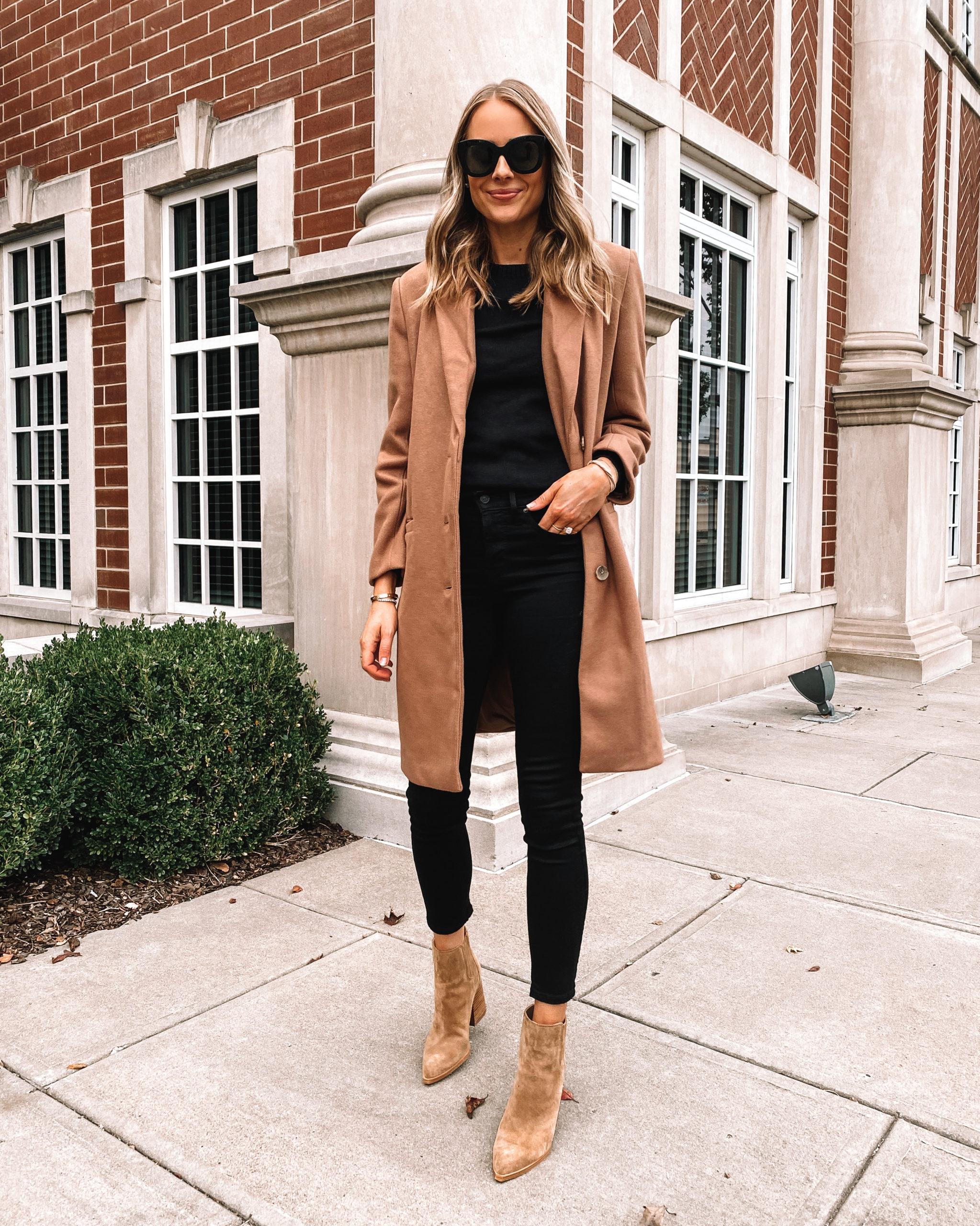 Fashion Jackson Wearing Amazon Fashion Camel Coat Black Sweater Black Skinny Jeans Tan Booties