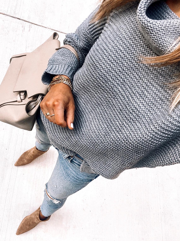 Fashion Jackson Wearing Amazon Fashion Grey Turtleneck Sweater Ripped Jeans Tan Booties