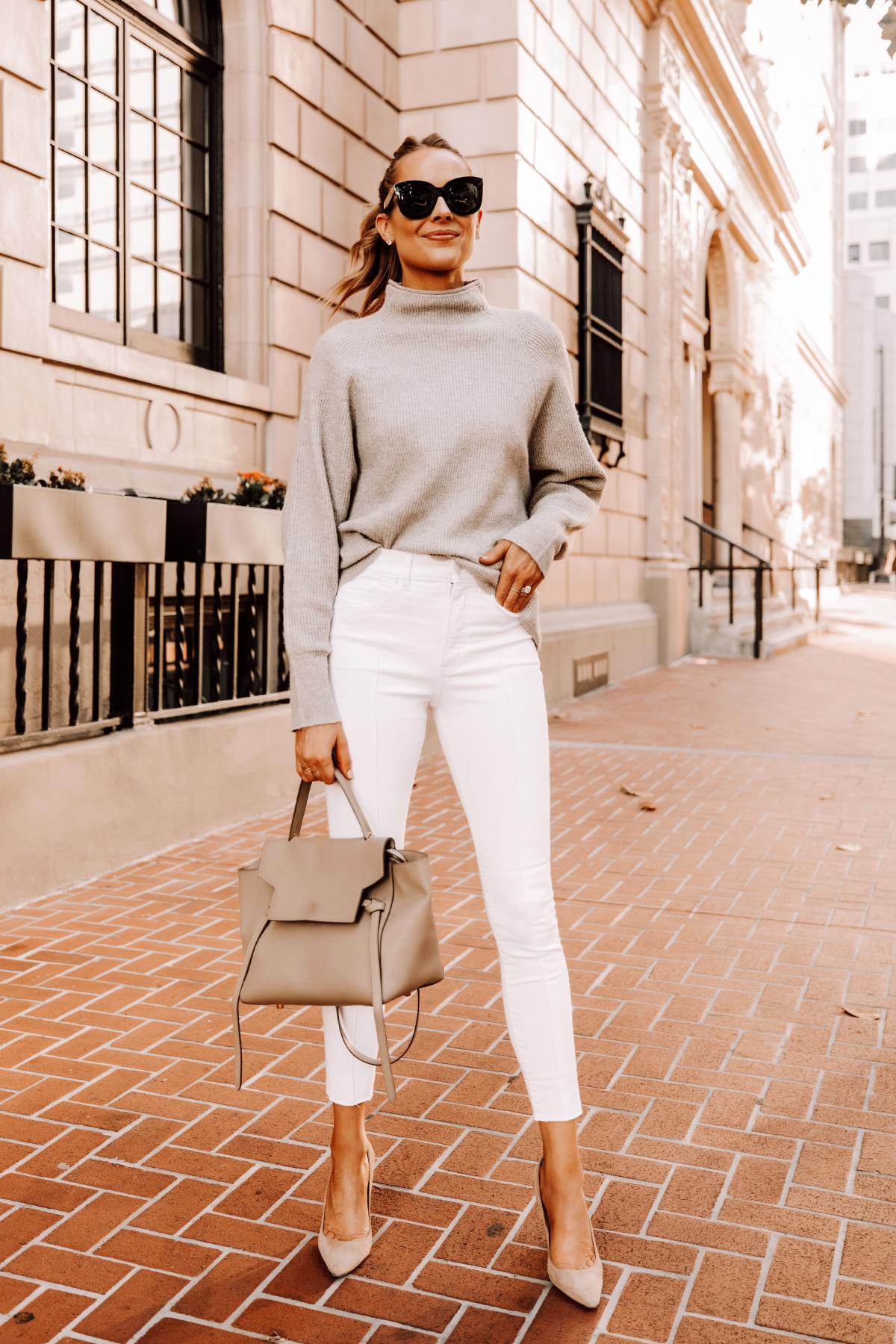 Fashion Jackson Wearing Beige Mockneck Sweater White Skinny Jeans Nude Pumps 1