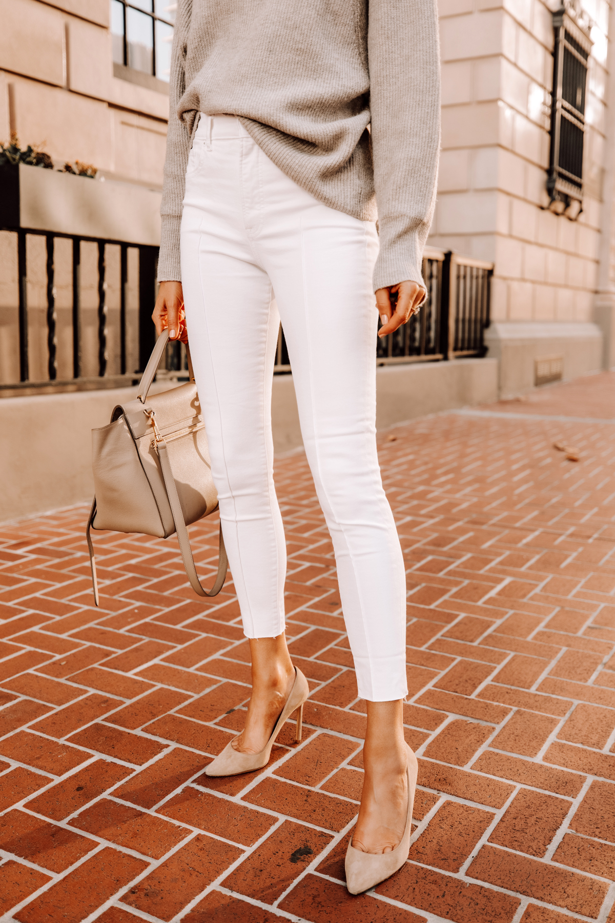 Fashion Jackson Wearing Beige Sweater Express White Skinny Jeans Nude Pumps