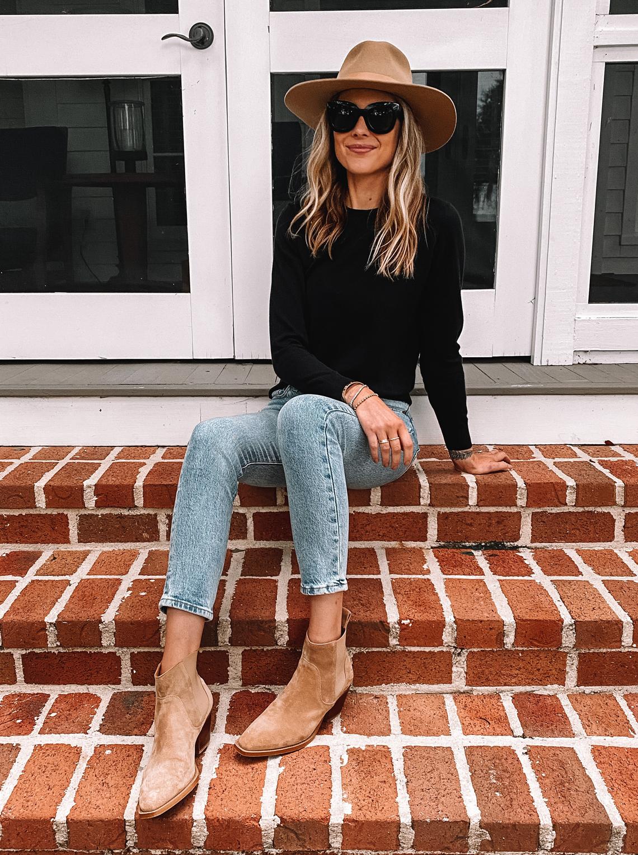Fashion Jackson Wearing Black Sweater Levis Jeans Tan Suede Booties Tan Hat