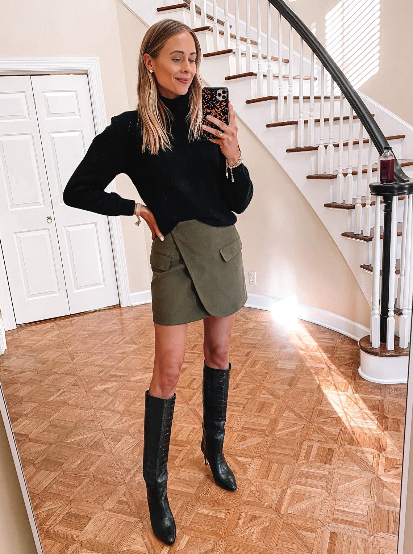 Fashion Jackson Wearing Black Turtleneck Sweater Green Mini Wrap Skirt Black Knee High Boots