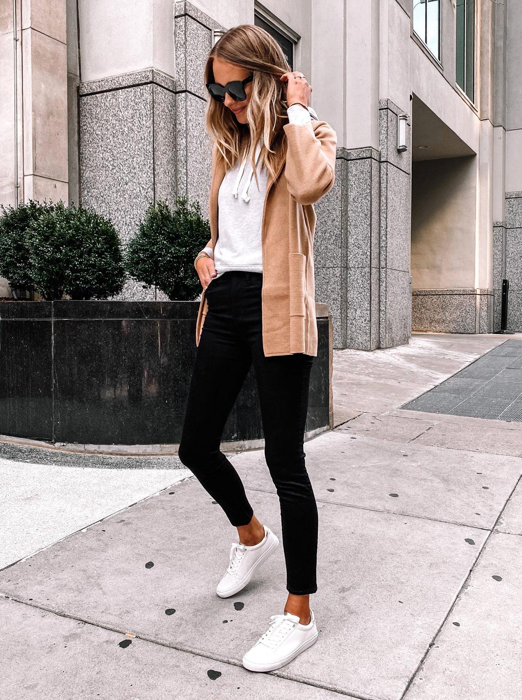 Fashion Jackson Wearing Camel Cardigan Grey Hoodie Black Skinny Jeans White Sneakers