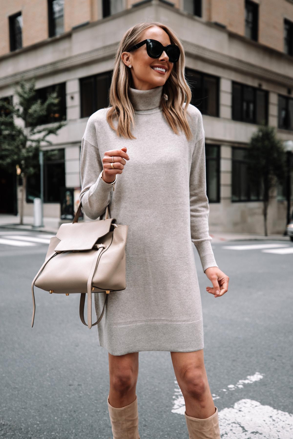 Fashion Jackson Wearing Everlane Beige Turtleneck Sweater Dress Tan Knee High Boots 1