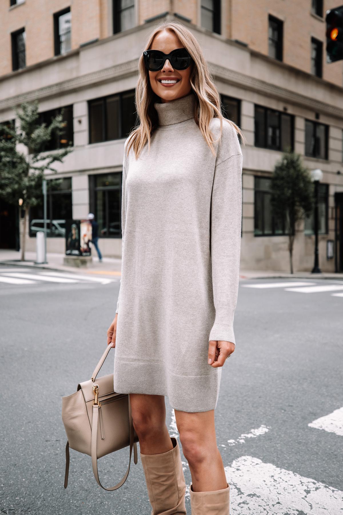 Fashion Jackson Wearing Everlane Beige Turtleneck Sweater Dress Tan Knee High Boots