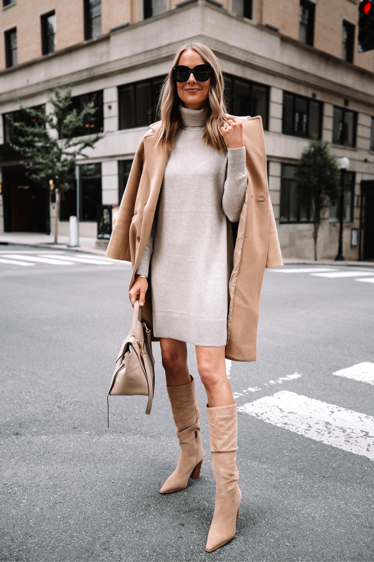 Fashion Jackson Wearing Everlane Camel Coat Everlane Beige Sweater Dress Celine Belt Bag Fall Outfit 3