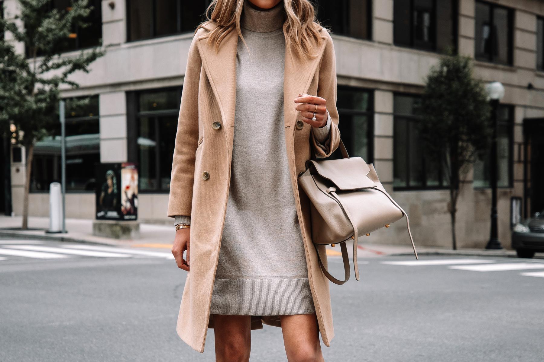 Fashion Jackson Wearing Everlane Camel Coat Everlane Beige Sweater Dress Celine Belt Bag Fall Outfit
