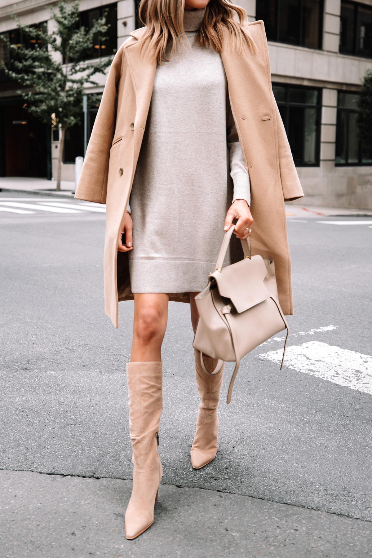 Fashion Jackson Wearing Everlane Camel Coat Everlane Beige Sweater Dress Tan Knee High Boots Celine Belt Bag Fall Outfit