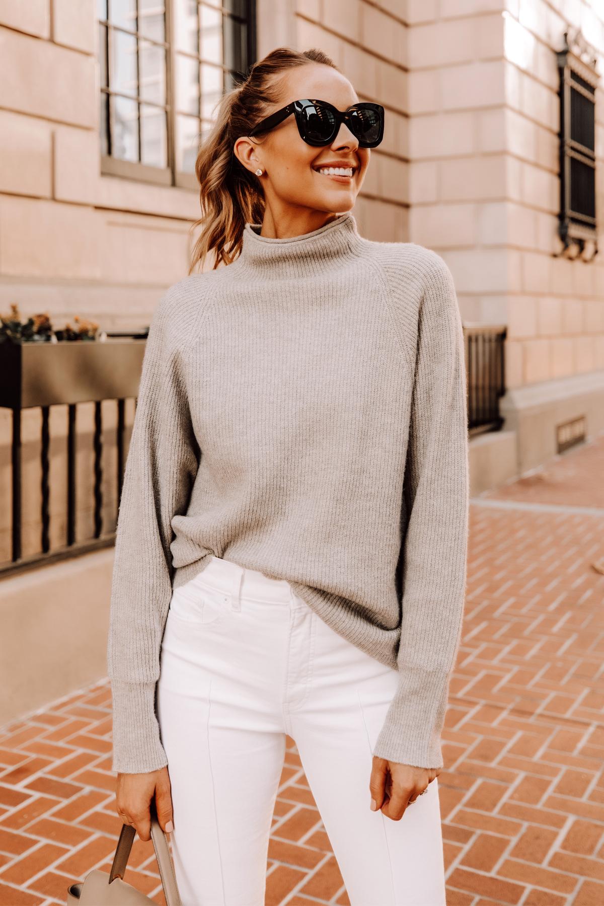 Fashion Jackson Wearing Express Beige Mockneck Sweater White Jeans 2